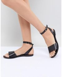 Steve Madden - Danny Black Leather Flat Sandals - Lyst