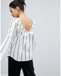 Sportmax Code - Striped Shirt With Ruched Tie - Lyst