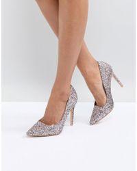 Public Desire - Debbie Light Pink Glitter Court Shoes - Lyst