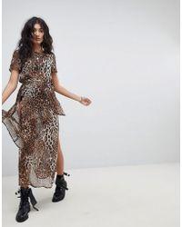 ebonie n ivory - Sheer Maxi T-shirt Dress With Belt Tie & Thigh Splits - Lyst