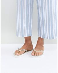 Accessorize - Whilte And Gold Mandala Flip Flops - Lyst
