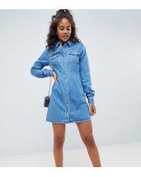 ASOS - Robe chemise en jean ajuste style western shirt dress coutures  apparentes - Lyst 5c826273020