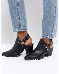Office - Aaron Black Leather Harness Detail Western Boots - Lyst