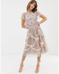 Needle & Thread Falda midi de tul en rosado con detalle fruncido - Azul