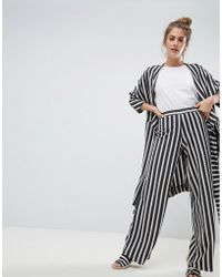 Pull&Bear - Wide Leg Linen Trouser In Stripe Print (join Life) - Lyst