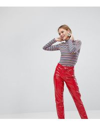 Monki - Vinyl Trousers - Lyst