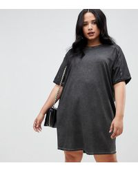 ASOS - Asos Design Curve T-shirt Dress With Rolled Sleeves And Wash - Lyst