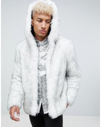 ASOS - Faux Fur Hooded Bomber In White - Lyst