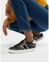 Dune - Eryn Embellished Black Leather Bumper Sneakers - Lyst