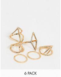 Miss Selfridge - 6 Pack Of Geometric Rings - Lyst