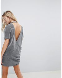 b39a2fbbf8 Bench Sleeveless T-shirt Dress With Tie Front in Gray - Lyst