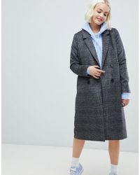 Monki - Check Tailored Coat In Grey - Lyst