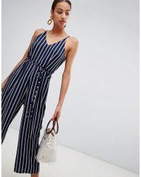 AX Paris - Striped Culotte Jumpsuit - Lyst