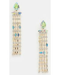 ASOS Statement Earrings In Asymmetric Pastel Crystal Drops In Gold - Metallic