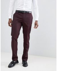 Mango - Man Suit Pants In Burgundy - Lyst