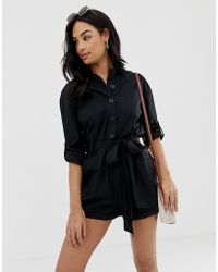 ASOS - Boiler Playsuit With Button Front And Tie Waist - Lyst