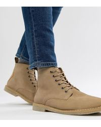 ASOS - Wide Fit Desert Boots In Stone Suede With Leather Detail - Lyst