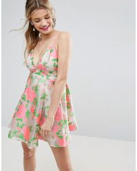 ASOS - Salon Floral Organza Pinny Mini Prom Dress - Lyst