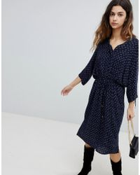 Soaked In Luxury - Waist Tie Shirt Dress With Gathered Sleeve - Lyst