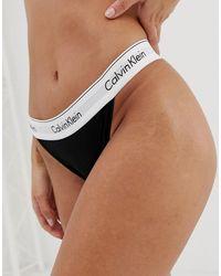 Calvin Klein Tanga de pernera alta en negro Modern Cotton