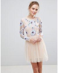 ASOS DESIGN - Asos Pastel Embroidered Tulle Mini Dress - Lyst