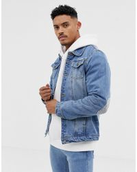 Liquor N Poker - Denim Jacket With Print And Elbow Patches In Blue Wash - Lyst