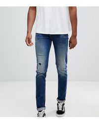 ASOS - Asos Tall Skinny Jeans In Dark Wash Blue With Abrasions - Lyst