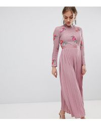 Little Mistress - Embroidered Lace Top Midaxi Dress With Pleated Skirt - Lyst