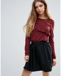 First & I - Long Sleeve Top With Frill Detail - Lyst