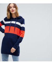 Esprit - Gestreiftes Pulloverkleid mit Kapuze - Lyst