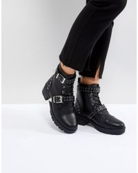 Truffle Collection - Studded Strap Hiker Boot - Lyst