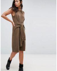 NYTT - Sleeveless Dress With Faux Sleeve Tie - Lyst