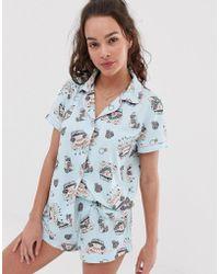 Chelsea Peers - Bridal Printed Revere Pyjama Set In Blue - Lyst