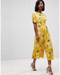 ASOS - Asos Tea Jumpsuit With Ruched Sleeve In Floral Print - Lyst