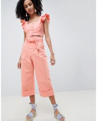 Lost Ink - Wide Leg Trousers With Paperbag Waist Co-ord - Lyst