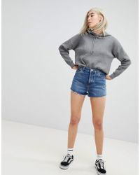 ASOS - Denim Shorts With Raw Hem In Vintage Blue - Lyst