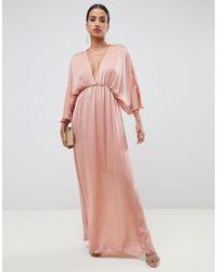 ASOS - Kimono Maxi Dress In Satin - Lyst