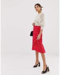 Warehouse - Spot Wrap Midi Skirt In Red - Lyst