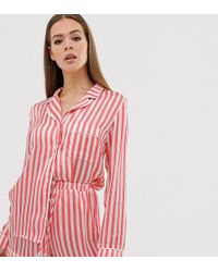Missguided - Long Sleeve Short Pyjama Set In Red Stripe - Lyst