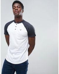 Hollister - Henley T-shirt Slim Fit Baseball Raglan In White Blocking - Lyst