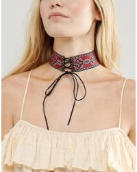 New Look - Embroidered Tie Choker Necklace - Lyst