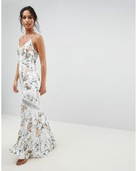 Hope and Ivy - Hope & Ivy Mirrored Floral Printed Crochet Insert Maxi Dress - Lyst