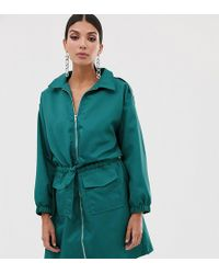 Missguided - Utility Dress In Teal - Lyst