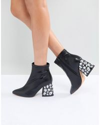 Lost Ink - Black Embellished Heeled Ankle Boots - Lyst