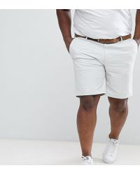 River Island - Big & Tall Slim Fit Belted Chino Shorts In Light Grey - Lyst