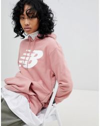 New Balance - Logo Hoodie In Pink - Lyst