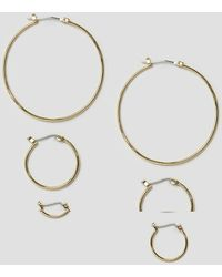 Pieces - Belinda Hoop Multipack Earrings - Lyst