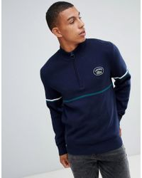 Lacoste - Half Zip Stripe Sleeve Jumper In Navy - Lyst