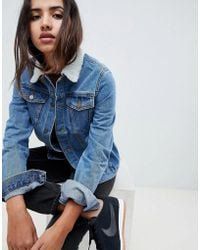 Criminal Damage - Denim Jacket With Faux Shearling Collar - Lyst