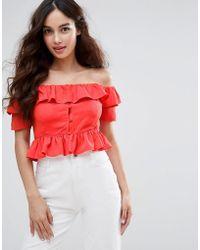 Fashion Union - Off The Shoulder Crop Top - Lyst